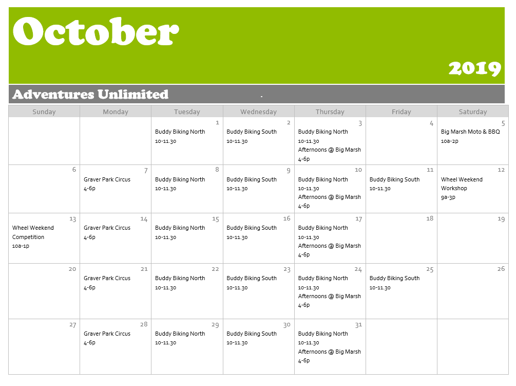 October Adventures Unlimited Calendar