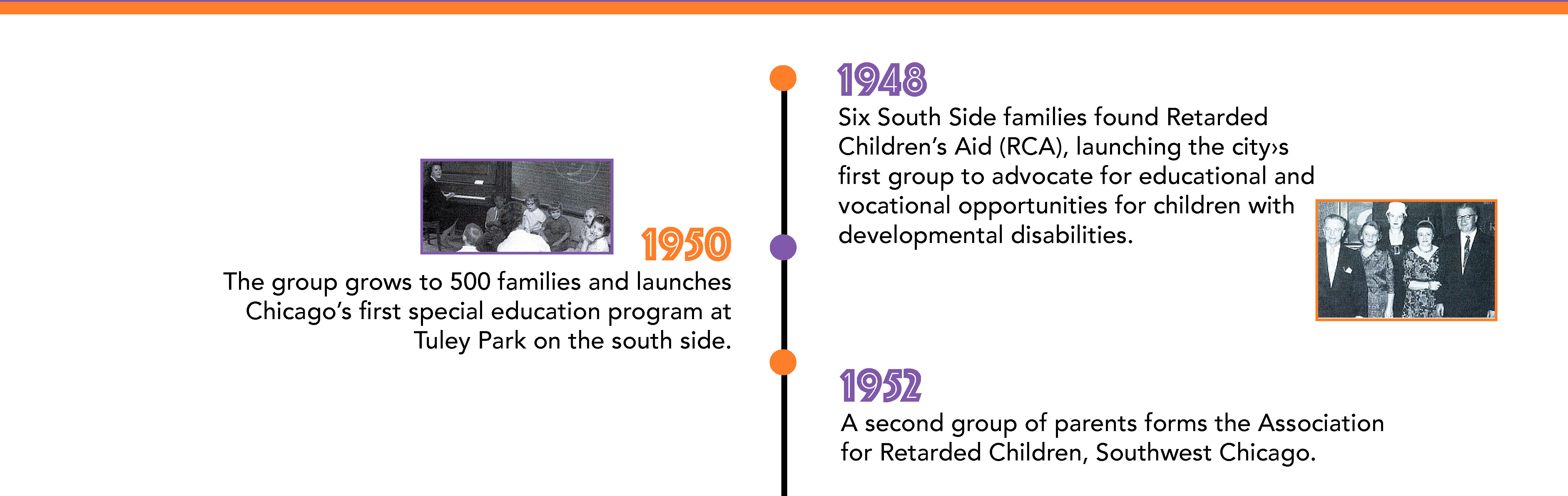 In 1948, six South Side families found Retarded Children's Aid (RCA), launching the city›s first group to advocate for educational and vocational opportunities for children with developmental disabilities. By 1950, the group grows to 500 families and launches Chicago's first special education program at Tuley Park on the South Side. In 1952, a second group of parents forms the Association for Retarded Children, Southwest Chicago.